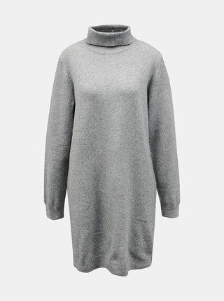 Světle šedé svetrové šaty s rolákem Jacqueline de Yong