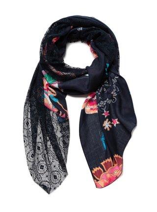 Desigual černý šátek Foul Indi Chintz Patch