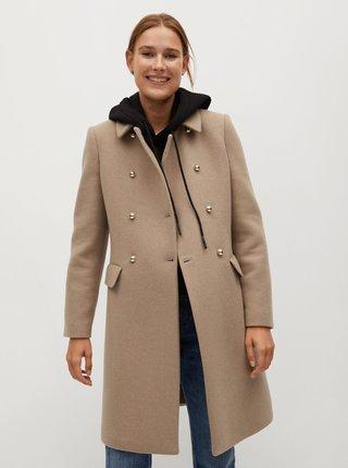 Béžový kabát s příměsí vlny Mango
