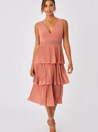 Růžové plisované šaty Little Mistress