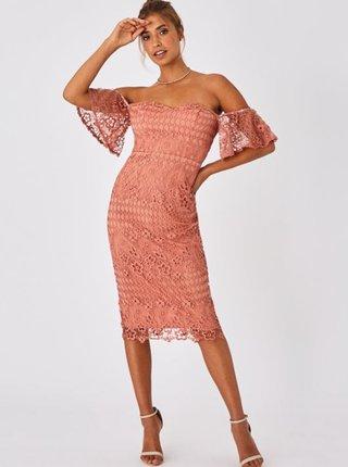 Růžové krajkové pouzdrové šaty Little Mistress