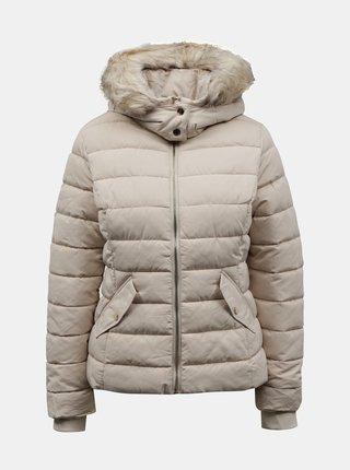 Krémová zimní prošívaná bunda s umělým kožíškem TALLY WEiJL