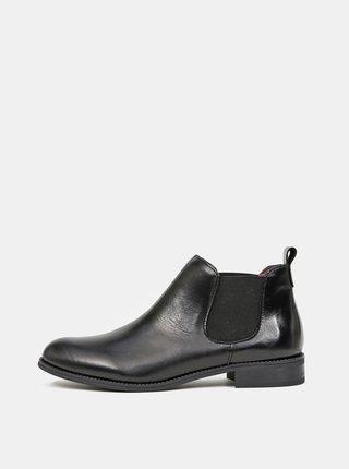 Černé dámské kožené chelsea boty OJJU