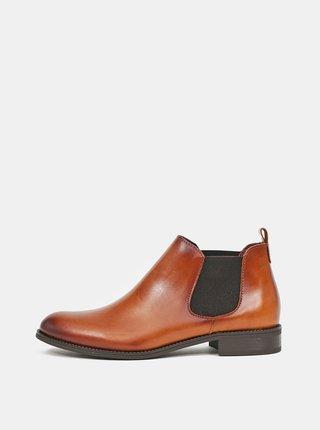 Hnědé dámské kožené chelsea boty OJJU