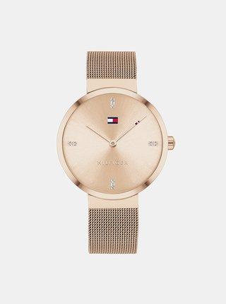 Dámské hodinky s ocelovým páskem v růžovozlaté barvě Tommy Hilfiger