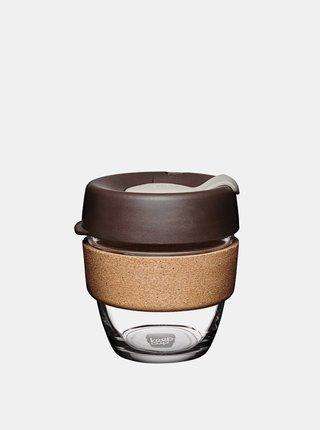 Hnědý skleněný cestovní hrnek KeepCup Cork Brew Almond small 227 ml