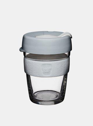 Šedý sklenený cestovný hrnček KeepCup Brew Cino medium 340 ml