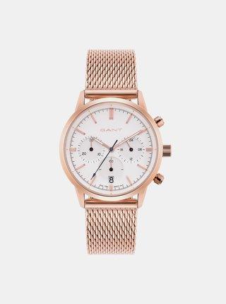 Dámske hodinky s nerezovým remienkom v ružovozlatej farbe GANT