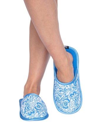 Slippsy bílo-modré domácí unisex pantofle Folk
