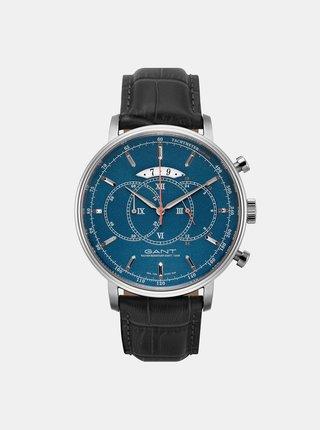 Pánske hodinky s čiernym koženým remienkom GANT