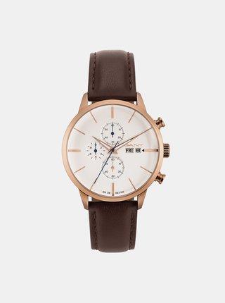 Pánske hodinky s hnedým koženým remienkom GANT