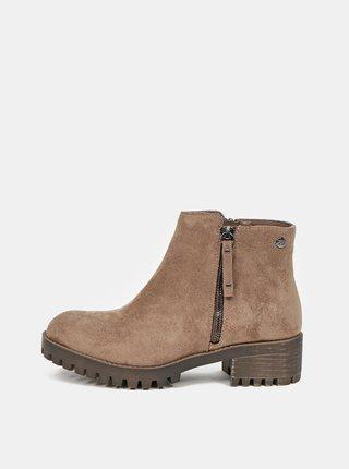 Béžové kotníkové boty v semišové úpravě Xti
