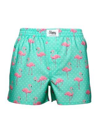 Slippsy tyrkysové pánské trenýrky Flamingo