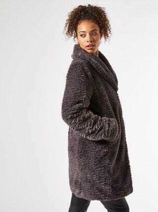 Šedý zimní kabát z umělého kožíšku Dorothy Perkins Tall