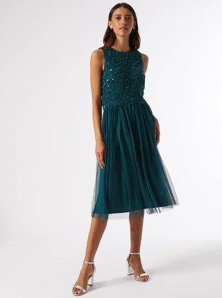 Zelené šaty s flitrovým topom Dorothy Perkins