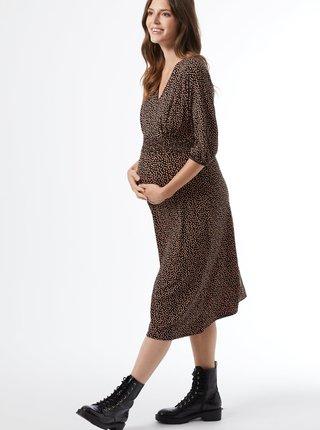Čierne vzorované tehotenské midišaty Dorothy Perkins Maternity