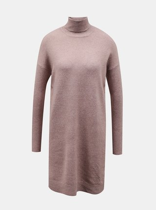 Růžové svetrové šaty s rolákem VERO MODA