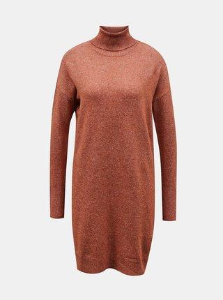 Hnědé svetrové šaty s rolákem VERO MODA