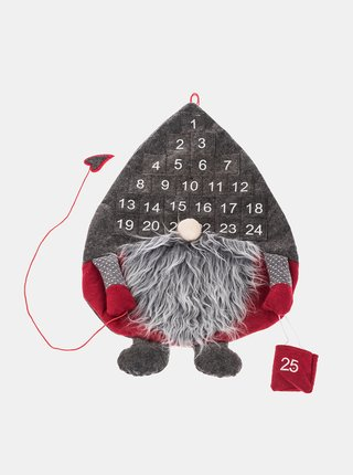 Šedý závěsný adventní kalendář ve tvaru vánočního skřítka  Dakls