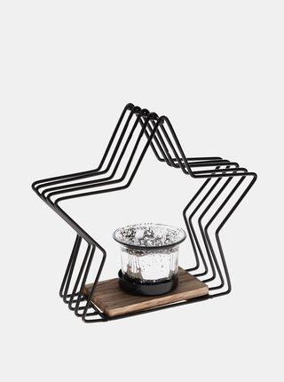 Čierny kovový svietnik v tvare hviezdy Dakls
