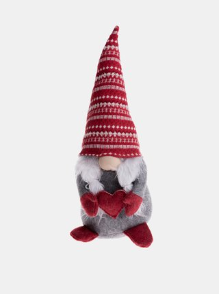Šedá dekorácia v tvare vianočného škriatka Dakls
