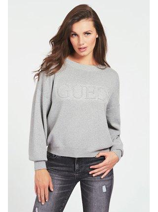 Guess šedý svetr Front Logo Sweater