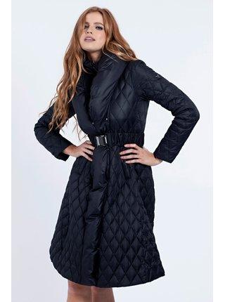 Guess černý kabát Padded Belted Jacket