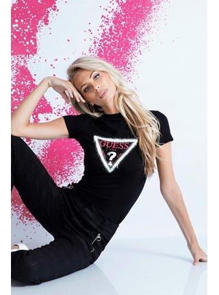 Guess černé tričko Triangle Logo T-shirt