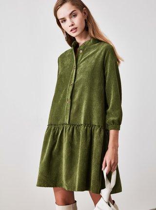 Zelené košeľové menčestrové šaty Trendyol