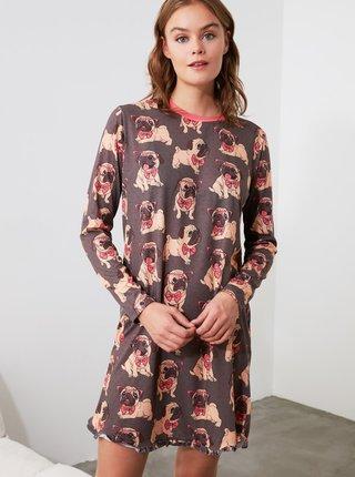 Hnedá vzorovaná nočná košeľa Trendyol