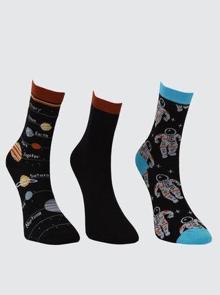 Sada troch párov dámskych čiernych vzorovaných ponožiek Trendyol