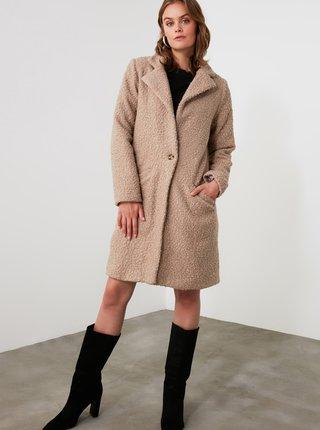 Béžový zimní kabát Trendyol