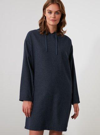 Tmavomodré mikinové šaty Trendyol