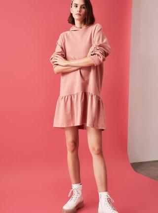 Růžové mikinové šaty Trendyol