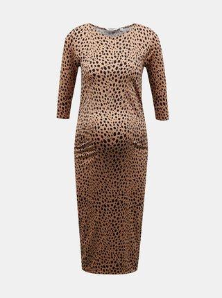 Hnedé vzorované púzdrové tehotenské šaty Dorothy Perkins Maternity
