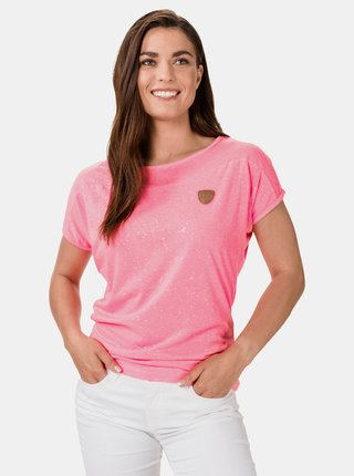 Růžové dámské vzorované tričko SAM 73