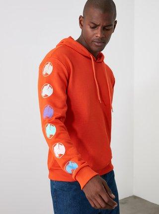 Oranžová pánská mikina Trendyol