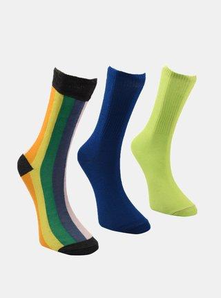 Sada tří párů pánských ponožek v modré a zelené barvě Trendyol