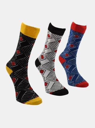 Sada tří párů pánských ponožek v modré a šedé barvě Trendyol
