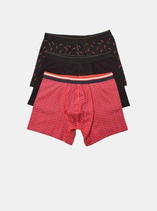 Sada tří pánských boxerek v černé a červené barvě Trendyol