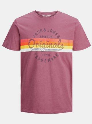 Růžové tričko s potiskem Jack & Jones