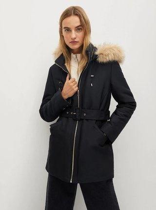 Černá zimní bunda Mango