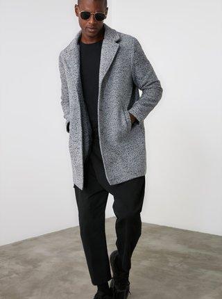 Světle šedý pánský kabát Trendyol