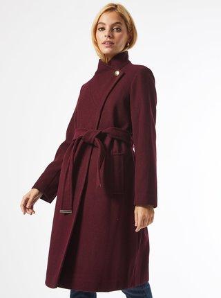 Vínový zimní kabát Dorothy Perkins Petite