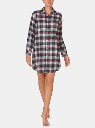 Krémová dámská károvaná noční košile Lauren Ralph Lauren