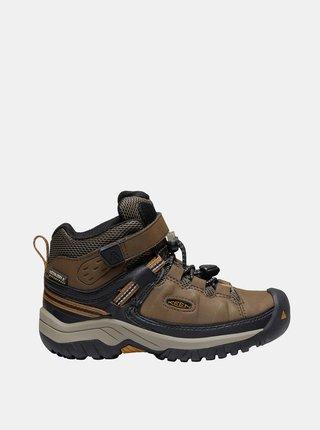Hnědé klučičí kožené zimní boty Keen