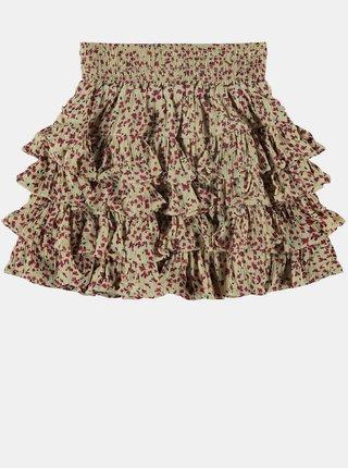 Béžová holčičí květovaná sukně name it