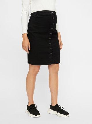 Čierna tehotenská rifľová sukňa Mama.licious