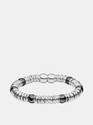 Náramek ve stříbrné barvě s černými korálky Tamaris