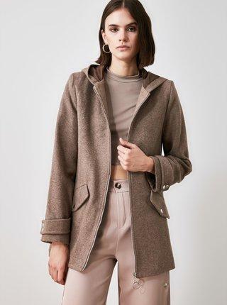 Hnědý dámský kabát s kapucí Trendyol